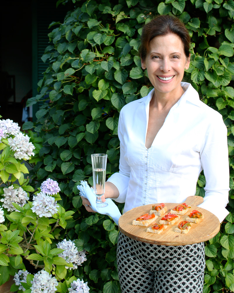 Italian Chef Deborah Dal Fovo serves her delicious Peperonata Crostini in the garden.