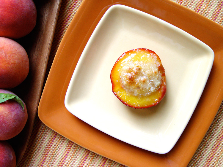 Baked Sunset Peach with Amaretti Filling - Yellow peach half is filled with fragrant ground almonds, sugar and fruit pulp then baked until luscious and gloriously golden with ruby red rim.