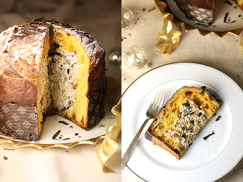Panettone Filled with Whipped Cream, Chocolate and Hazelnuts: A peek inside this festive Italian Christmas bread filled with whipped cream, chocolate and nuts. A sweet surprise!