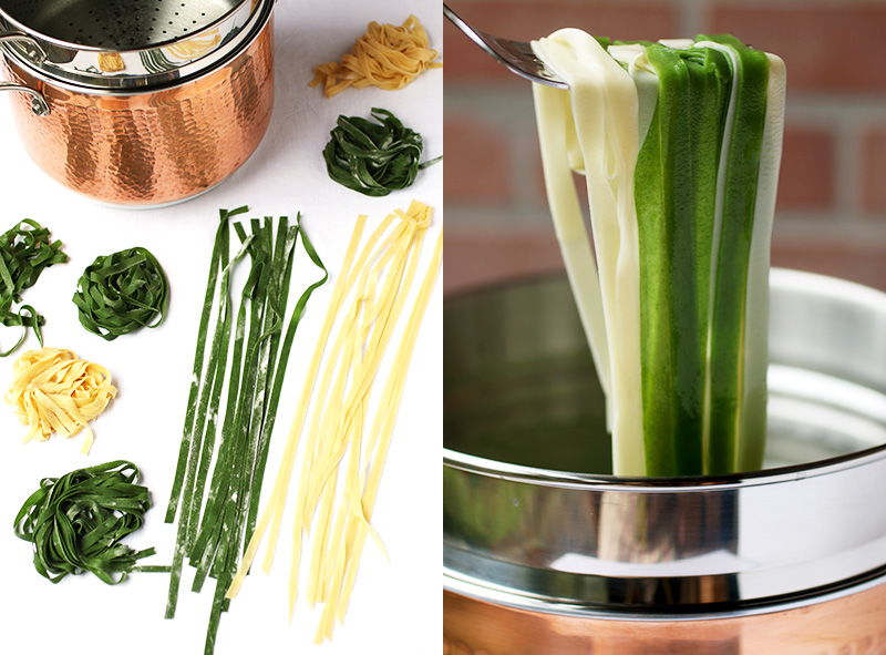 Straw and Hay Pasta ribbons are made with half egg pasta dough and half spinach pasta dough then rolled into thin sheets and cut into long ribbons. They cook in 1 to 2 minutes and are tender and delicate!