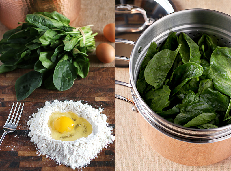 Making spinach pasta dough starts by first cooking the spinach then chopping fine and adding to egg and flour. It's that simple!